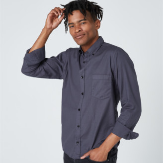 DSTLD Twill Button Down Shirt in Charcoal