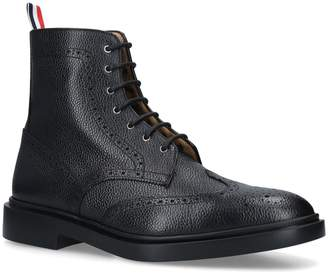 Thom Browne Pebbled Leather Wingtip Boots