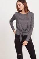 Dynamite Tie Front Long Sleeve Top
