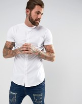 SikSilk Muscle Shirt In White With Jersey Sleeves