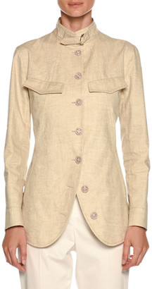 Giorgio Armani Stand-Collar Button-Front Coated Linen Utility Jacket