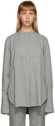 Peter Do Grey Oversized Cufflink Tuxedo Shirt