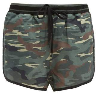 The Upside Army Camouflage Print Linen Blend Shorts - Womens - Green Print