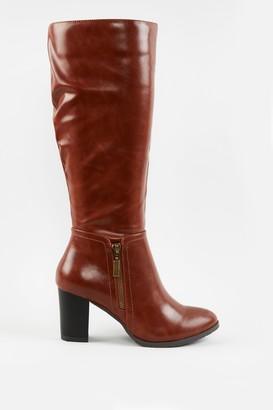 Wallis Tan Side Zip High Leg Boot