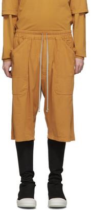 Rick Owens Orange Drawstring Shorts