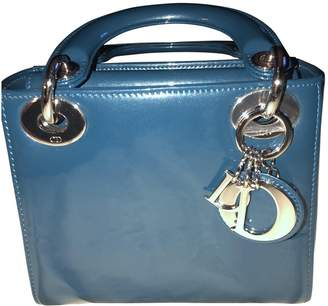 Christian Dior Lady Turquoise Patent leather Handbags