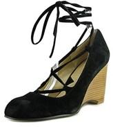Adrienne Vittadini Smily Women Open Toe Suede Black Wedge Heel.