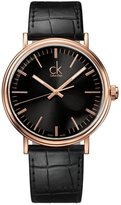 Calvin Klein K3W216C1 Men's Surround Black Dial Rose Gold Steel Black Leather Strap Dress Watch