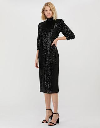 Monsoon Kalila All-Over Sequin Midi Dress Black