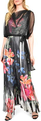 Komarov Floral Charmeuse & Chiffon Maxi Dress with Popover