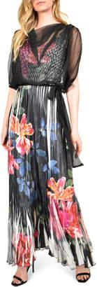 Komarov Floral Charmeuse & Chiffon Maxi Dress with Popover
