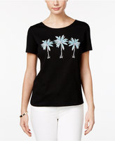 Karen Scott Palm Tree Graphic T-Shirt, Only at Macy's