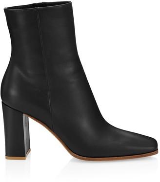 Gianvito Rossi Alistar Square-Toe Leather Ankle Boots