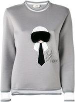 Fendi 'Karl' fur trim sweatshirt - women - Silk/Cotton/Mink Fur/Polyester - 40