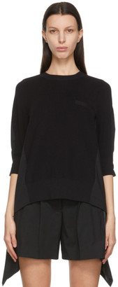 Sacai Black Knit Pleated Back Sweater