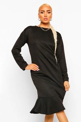 boohoo Frill Hem Midi Sweater Dress