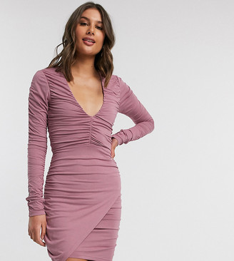 ASOS DESIGN Tall plunge long sleeve ruched mini dress in mink