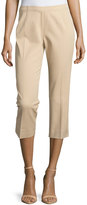Neiman Marcus Cropped Bi-Stretch Pants, Buff
