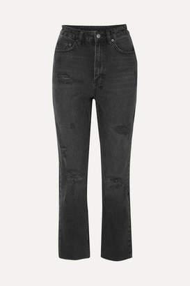 Ksubi Chlo Wasted Castor Oil Cropped Distressed High-rise Slim-leg Jeans - Black
