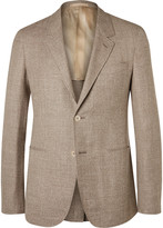 Caruso - Brown Butterfly Slim-fit Unstructured Wool, Silk And Linen-blend Blazer