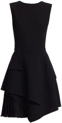 Oscar de la Renta Sleeveless Asymmetric Mini A-Line Dress