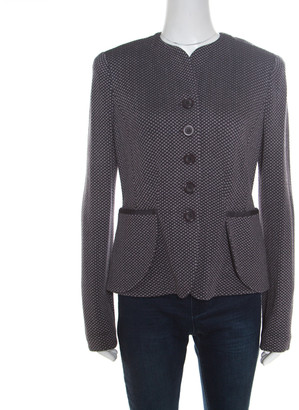 Armani Collezioni Dark Grey Textured Wool Jacquard Knit Buttoned Jacket L