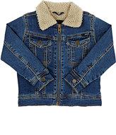 Molo Kids Sherpa-Lined Denim Jacket-BLUE