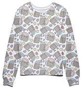Isaac Morris Pusheen The Cat Rainbows Unicorns and Mermaids Juniors Sweatshirt L