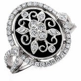 Amoro 18kt White Gold Onyx and Diamond Ring (0.75 cttw, Color, SI2-I1 Clarity)