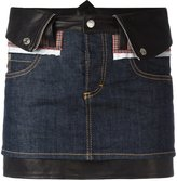 DSQUARED2 mini denim skirt - women - Cotton/Calf Leather/Polyester/Spandex/Elastane - 36
