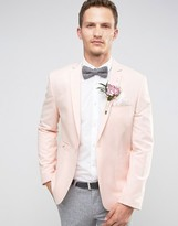 Asos WEDDING Skinny Blazer in Pink with Fleck Detail