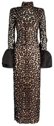 Sandra Mansour Ruffled Leopard Midi Dress