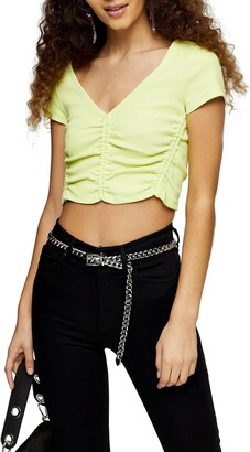 Topshop Ruched Neon Crop Top