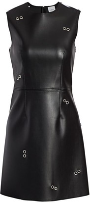 Burberry Coleta Faux Leather Grommet Dress