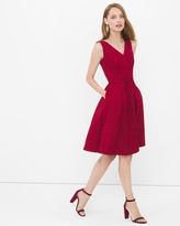 White House Black Market V-neck Jacquard Fit-and-Flare Dress