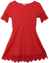Sequin Hearts Coral Lace-Trim Fit & Flare Dress - Girls