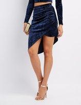 Charlotte Russe Velvet Ruched Asymmetrical Skirt