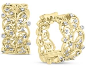 Effy Diamond Filigree Huggie Hoop Earrings (1/5 ct. t.w.) in 14k Gold
