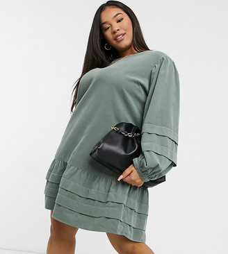 ASOS DESIGN Curve cord mini pleat detailed smock dress in green