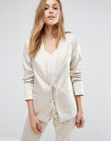 Vila Tailored Blazer With Tie String Front