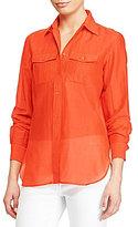 Lauren Ralph Lauren Petite Cotton-Silk-Voile Shirt
