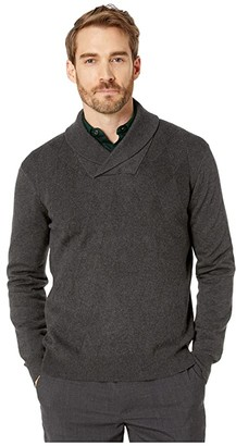 Perry Ellis Argyle Shawl Collar Long Sleeve Sweater (Charcoal Heather) Men's Clothing
