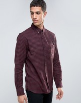 French Connection Flannel Burgundy Gingham Slim Fit Check Shirt