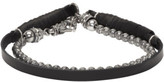Emanuele Bicocchi Silver and Black Beaded Leather Bracelet