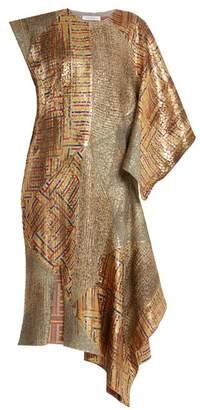 J.W.Anderson Asymmetric-detail Patchwork Jacquard Dress - Womens - Gold