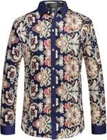 SSLR Men's Vintage Printed Long Sleeve Shirt (, White Blue)