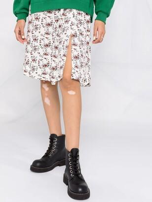 Ganni Floral-Print Pleated Midi Skirt