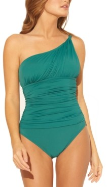 BLEU by Rod Beattie Solid One-Shoulder Ruched One-Piece Swimsuit Women's Swimsuit
