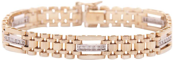 JCPenney FINE JEWELRY Mens 5/8 CT. T.W. Diamond 14K Two-Tone Gold Link Bracelet