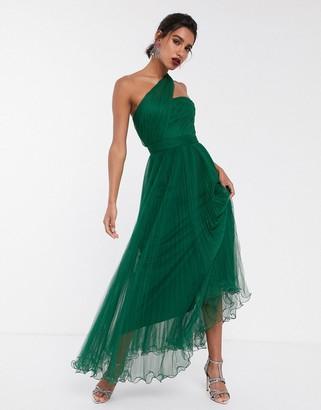 ASOS DESIGN one shoulder tulle wired hem maxi dress